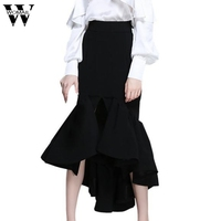 Womail Women Bodycon Ruffled Skirt Fashion High Waist Hip Fishtail Ruffles Skirt Female Office Lady Pencil