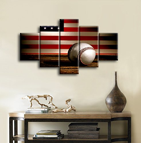 Retro Us American Flag Baseball Military Canvas Prints