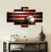 Retro US American Flag Baseball Military Canvas Prints Wall Art Vintage Thin Blue Line Home Decor Pictures for Living Room