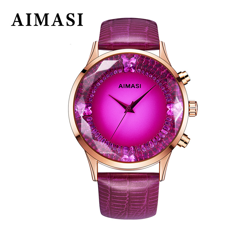 2018 Aimasi Brand Rhinestone Crystal Watch Glass Multicolour Genuine Leather Belt Fashion Personality Big Dial Dial Wristwatches