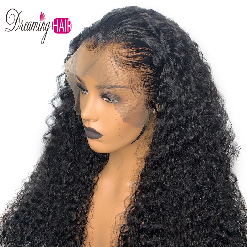 High 180% Density Curly 13*6 Brazilian Lace Front Human Hair Wigs With Baby Hair Lace Front Wig Remy Hair Wig Pre Plucked Wigs