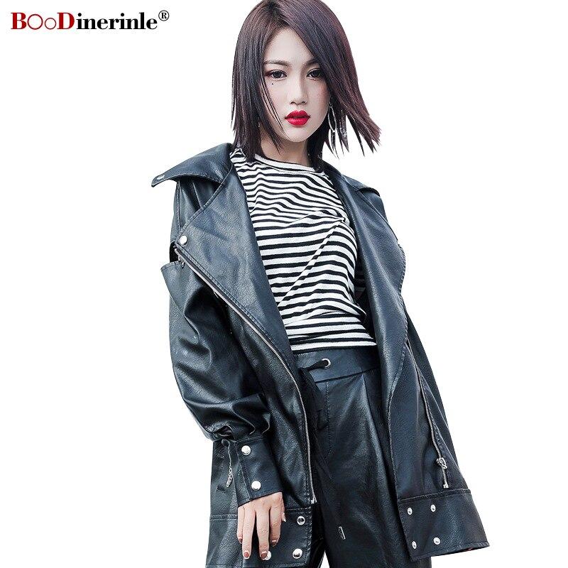 Haus & Garten MüHsam Boodinerile 2019 Frauen Pu Leder Jacke Weibliche Lose Plus Größe Motorrad Leder Jacke Stilvolle Schwarz Kette Streetwear Mantel