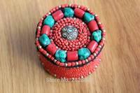 BX176 Tibétain Main Cousu Turquose Corail Perles Bijoux Boîte À La Main Népal Rouge Multi Mini Perles Bijoux Gardien
