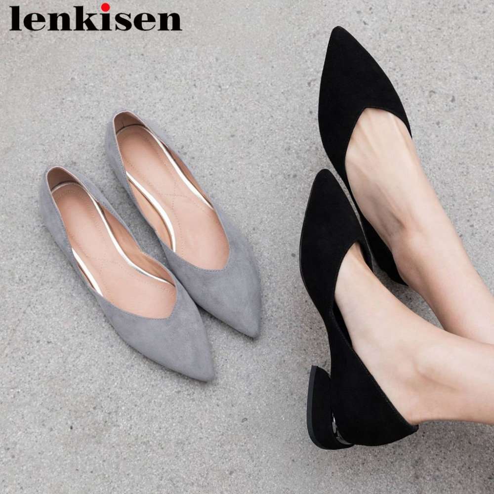 Lenkisen office lady low heels pointed toe kid suede slip on shallow women pumps elegant Spring