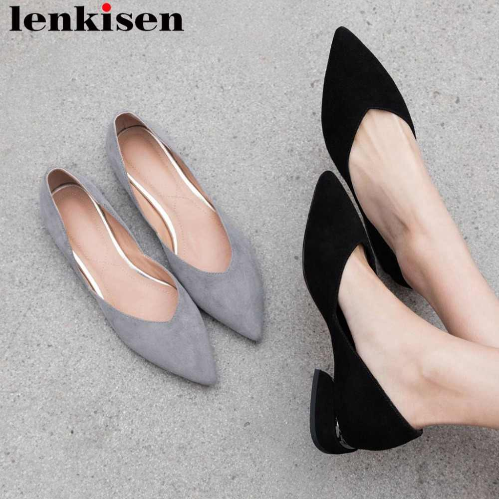 Lenkisen office lady low heels pointed toe kid suede slip on shallow women pumps elegant Spring plus size clubwear shoes L9f7