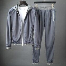بدلة رجالية ماركة JSBDFashion ذات قلنسوة ملائمة لممارسة الرياضة في وقت الفراغ بدلة رجالية مكونة من قطعتين بفتحات تهوية شبكية