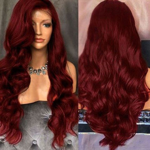 Image 3 - Bombshell Wine Red Body Wave Hand Tied Synthetic Lace Front Wig Heat Resistant Fiber Natural Hairline With Baby Hair For Women