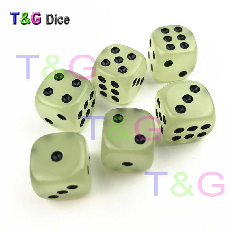 16mm Six Sided Glowing/Gaming/Clear Dice Kit with Standard Dots for Bar Game/Drinking Dice/Boardgame Accessories/Counting Cubes