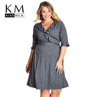Kissmilk المرأة زائد حجم الخامس الرقبة تكدرت الصلبة اللباس منتصف فراشة كم فستان فضفاض الأساسية الكبيرة عارضة التعادل اللباس 3xl 7xl