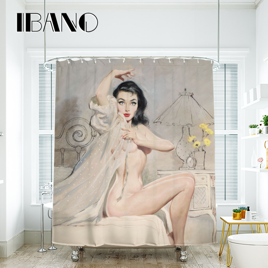 IBANO Sexy Woman Painting Shower Curtain Waterproof Polyester Fabric Bath Curtain For The Bathroom With 12 pcs Plastic Hooks in Shower Curtains from Home Garden