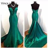 2018 Noite Vestidosสุภาพสตรีที่สง่างามชุดราตรีสีเขียวมรกต