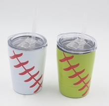 ship by 1days 8.5oz Tumbler Baseball kids straws cups wine glasses Stainless Steel Travel Beer Mug cups no Vacuum Insulated