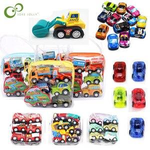 Image 1 - 6/12個プルバックカーのおもちゃレーシングカーベビーミニ消防車漫画のプルバックバストラックの子供たちおもちゃ子供のボーイギフト用wyq