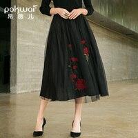 POKWAI 2018 Осень Новая мода вышитые короткая юбка сетки плиссированные юбки в длинный абзац юбка