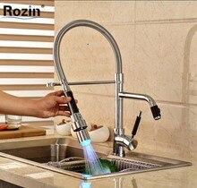 Палуба Гора LED Цвет Изменение Кухонный Кран с Двойным Поворотным Изливом Одной Ручкой Горячей и Холодной Воды Смесители