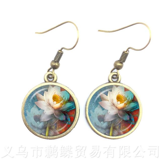 Lotus Flower Earrings Mandala Photo Art 16mm Glass Cabochon Drop