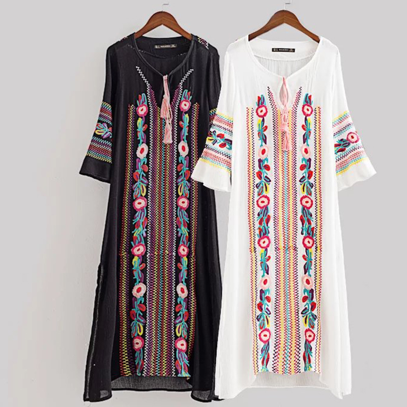 Women Vintage Floral Embroidery Ethenic Dresses Vestido Round Neck Long Sleeve Casual Long Maxi Dress Jurk Robe Longue