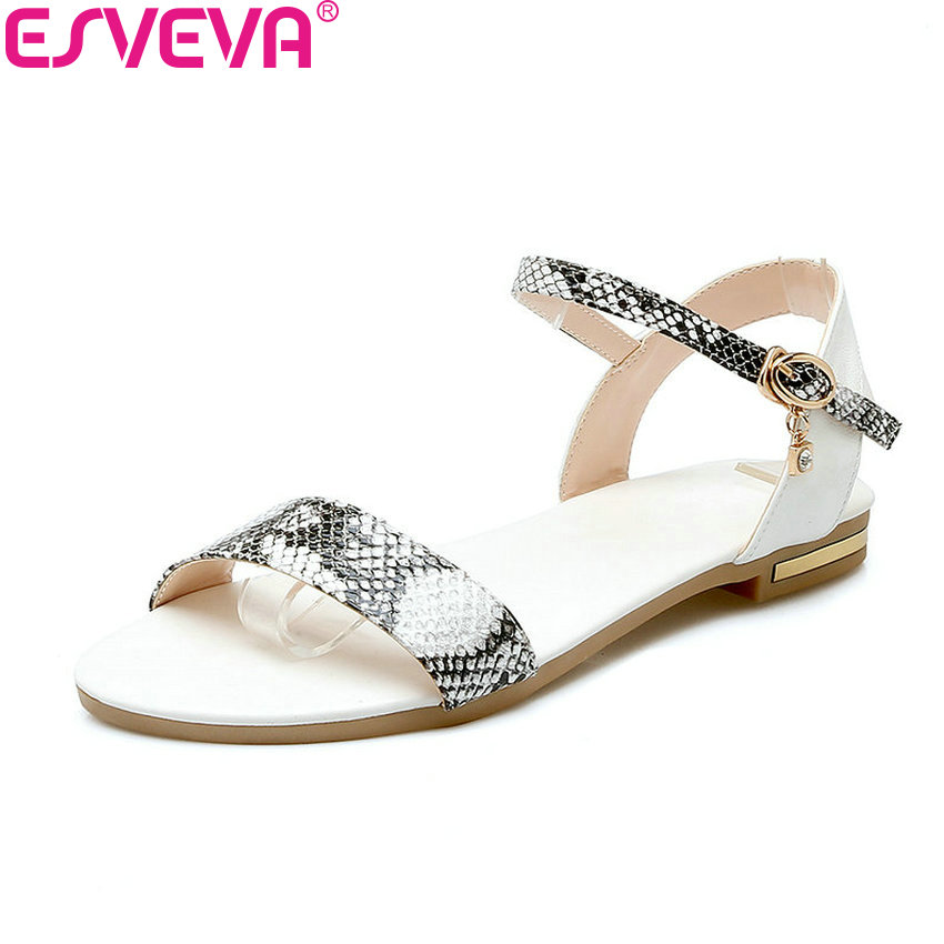 ESVEVA 2018 Women Sandals Mixed Color Cow Leather PU Western Style Sandals Low Heel Shoes Summer Sandals Women Shoes Size 34-43 xiuningyan horsehair sandals women flat heel sandals fashion summer low heel shoes woman sandals summer plus size free shipping