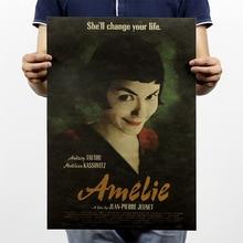 Nostálgico Vintage Amelie clásico papel película cartel viejo papel antiguo Bar Pub café Retro pegatina de pared decoración del hogar 51*35cm