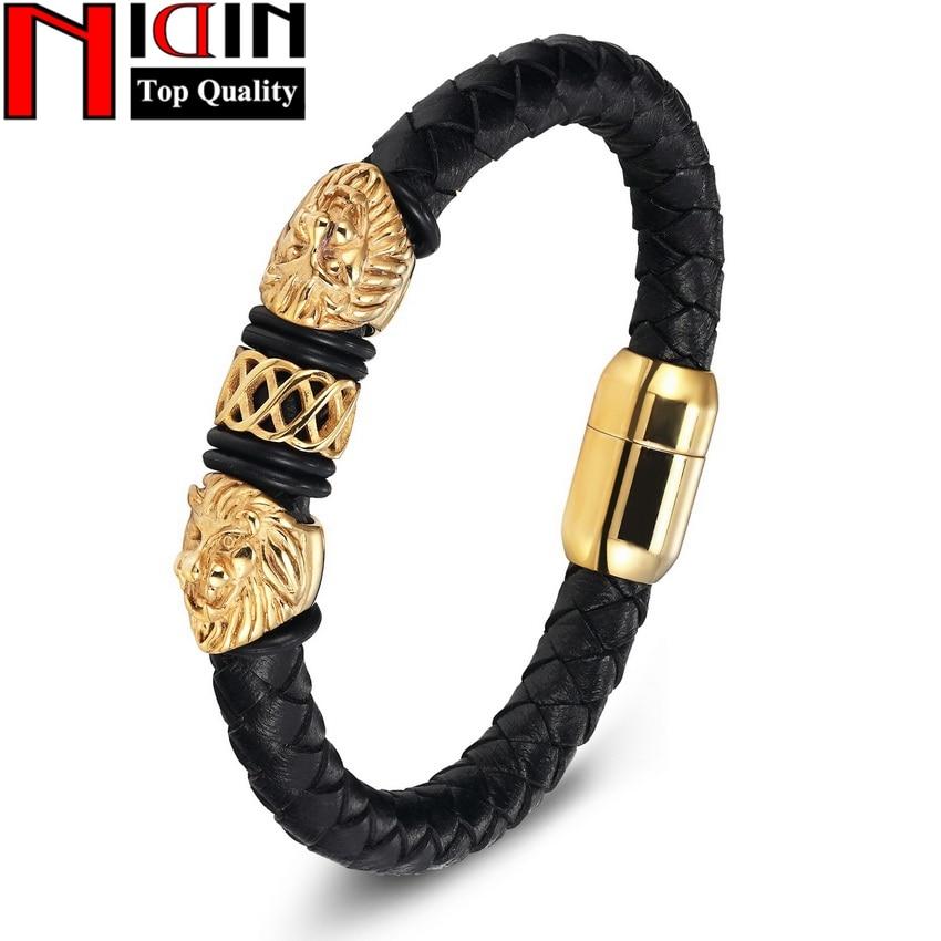 Charm Äkta Läderarmband & Bangles Rostfritt Stål Magnetic Clasp Armband För Kvinnor Herr Smycken Pulsera Male Accessory