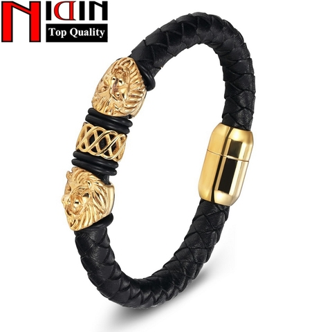 Charm Genuine Leather Bracelets & Bangles Stainless Steel Magnetic Clasps Bracelet For Women Mens Jewelry Pulsera Male Accessory Pakistan