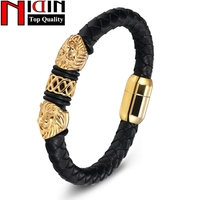 Charm Genuine Leather Bracelets Bangles Stainless Steel Magnetic Clasps Bracelet For Women Mens Jewelry Pulsera Male