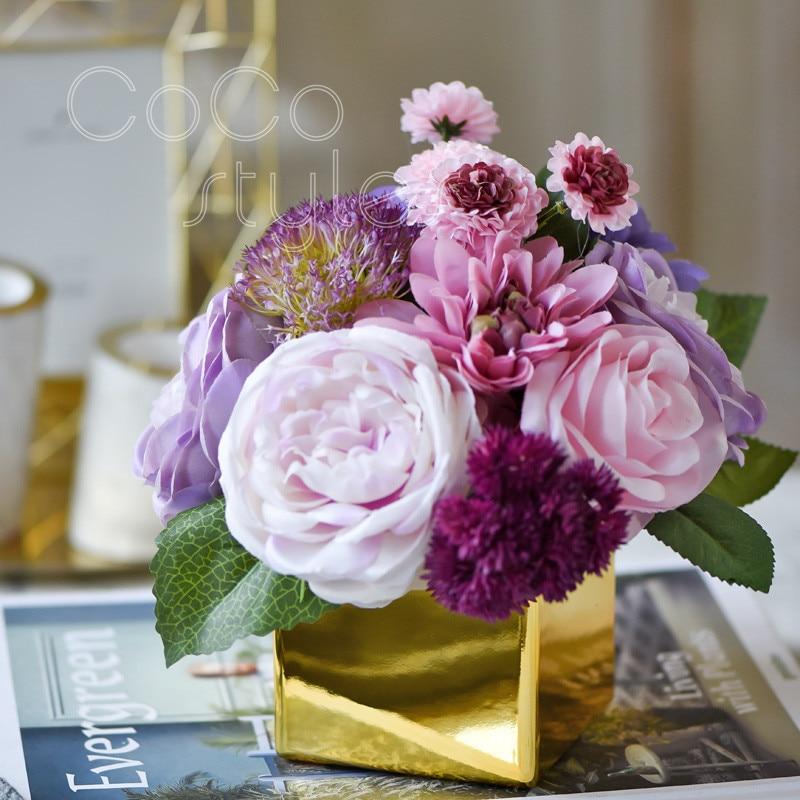 Cocostyles ins deluxe golden square or en laiton vase fleur style européen pour royal de mariage décor moderne articles pour la maison décoratif