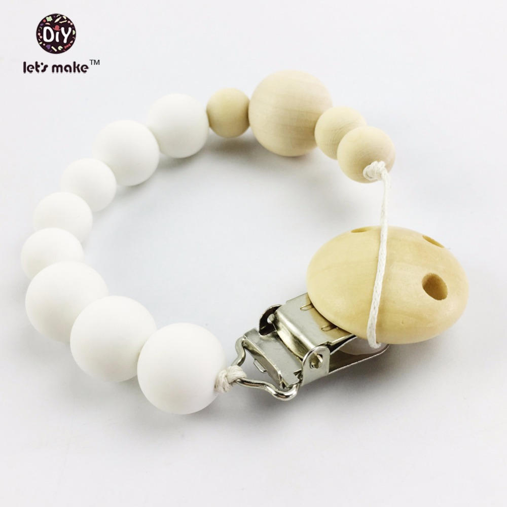 Let's make Organic Silicone Teething Pendant(1pc)natural Wooden s Montessori Toys Baby Shower Gifts Dummy Pacifier Clip New Mom