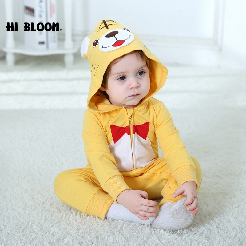 100% Flannel Baby Cartoon Animal Jumpsuit Clothes Kids Girl Cute Tiger Yellow Rompers Boy Children Clothing Pajamas