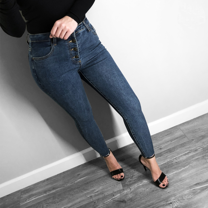 Skinny Women Jeans Denim Casual Solid Color Decorative Buttons Women Big Stretch Jeans