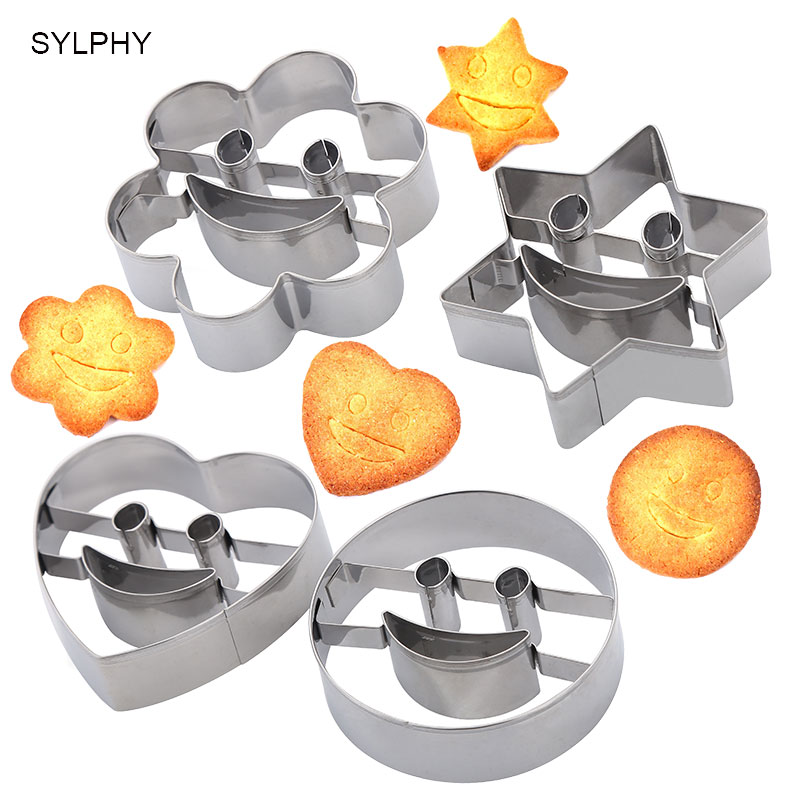4pcs/set Star <font><b>Flower</b></font> Round Love Smiley Biscuits Molds Set DIY Cookie <font><b>Cutters</b></font> <font><b>Cake</b></font> Fondant <font><b>Decorating</b></font> Fruit Cutting Baking <font><b>Tools</b></font> image