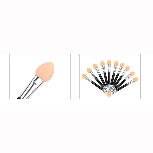 HOT SALE 10Pcs Makeup Double-end Eye Shadow Eyeliner Brush Sponge Applicator Tool cosmetic eyeshadow brush oct27 4