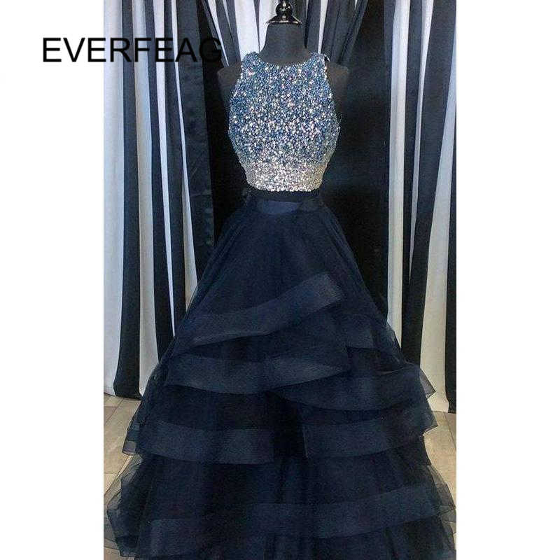 Navy Blue Prom Dresses 2018 Long 2 Piece Beaded Ruffles Formal Women  Evening Dress for Graduation 51b3e5f0fe1b