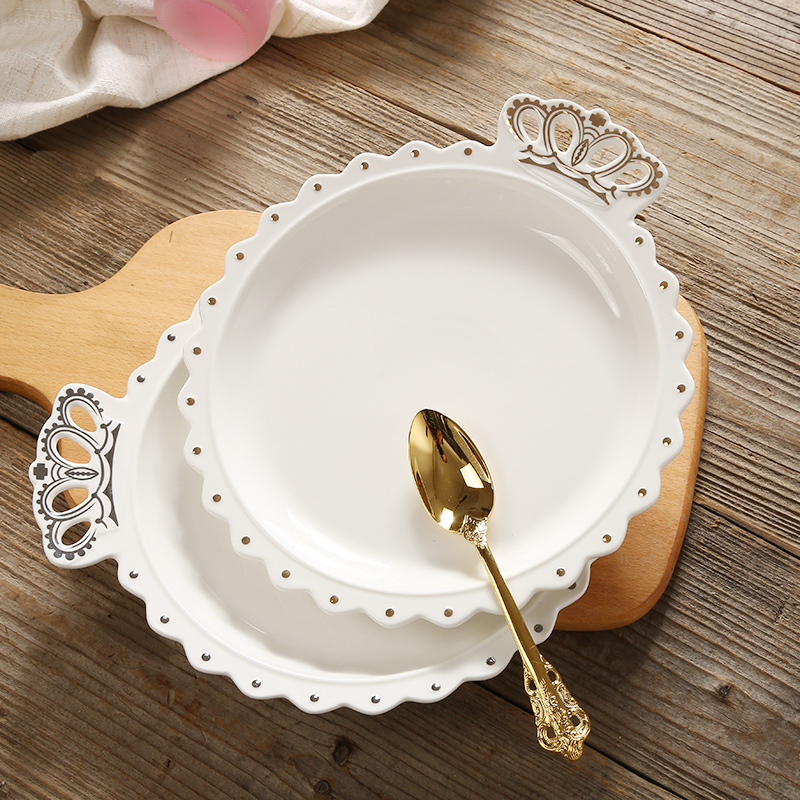 Cartoon Crown Dinner Plate Round Ceramic Soup Plate White Western Style Dessert Plate Steak Dish Photography Decoration Tray
