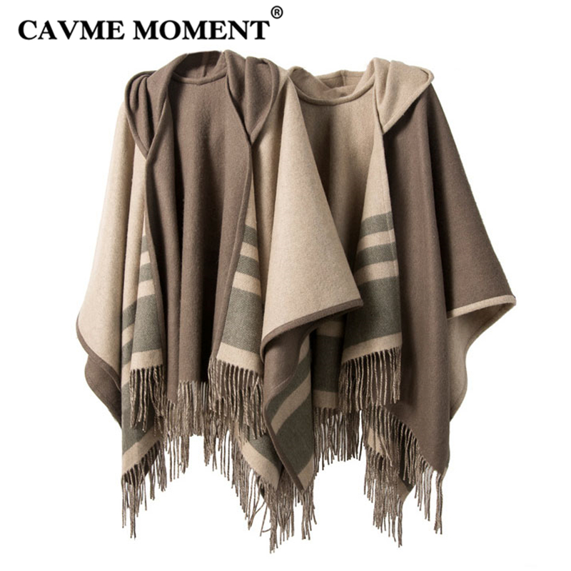 CAVME Hooded Wool Poncho with Tassels for Women Ladies Shawls in Beige Coffee Color Winter Warm 100% Woolen Striped Wraps Shawl