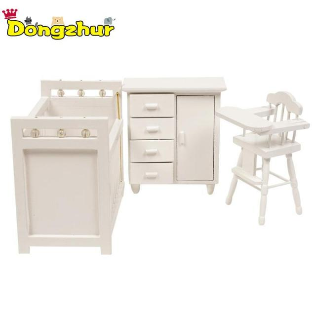Excellent Us 17 85 15 Off Dongzhur 3Pcs Set Bedroom Furniture Wooden Crib Bed Baby Chair Cabinet 1 12 Scale Dollhouse Mini Kids Diy Doll House Wwp6562 In Doll Caraccident5 Cool Chair Designs And Ideas Caraccident5Info