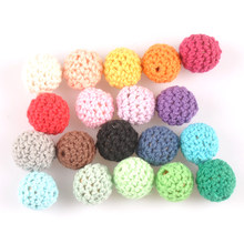 10pcs 16mm Mix color Crochet Beads Woolen Yarn For Choose Knitted By Cotton Thread for Jewellery Making MT2089(China)