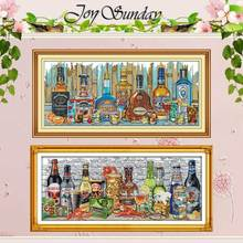 Wine home decor painting counted Cross Stitch 11CT 14CT Set Wholesale DIY Cross-stitch Kit Embroidery Needlework