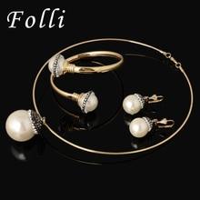 Fashion Brand CC Design Elegant Pearl Jewelry Set Glittering Rhinestone Dubai 18K Gold Plated african Beads Jewelry Necklace40CM