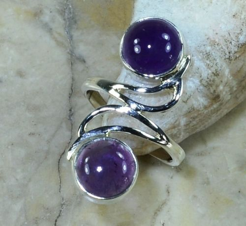 Hand make  Nature  Amethyst Ring 100% 925 Sterling Silver, 4G, Size: 7.5 , Gift BOX