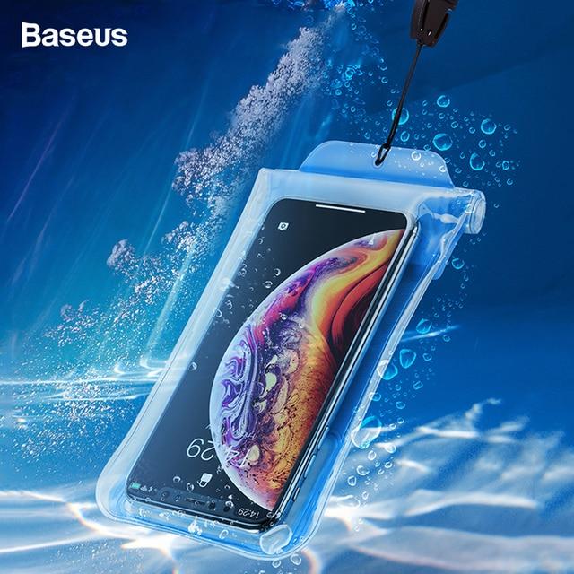 Baseus IPX8 Túi Chống Nước Điện thoại Cho Iphone XS Huawei P30 P20 Pro Lite Samsung S10 S9 Tiểu Mi Mi 9 8 không Thấm nước Túi Phối Túi