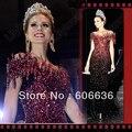 Miss Universo Vaina Fuera del Hombro Rojo Cristal Piedras Brillantes Vestidos de las Celebridades Al Por Mayor de calidad Superior Envío Gratis