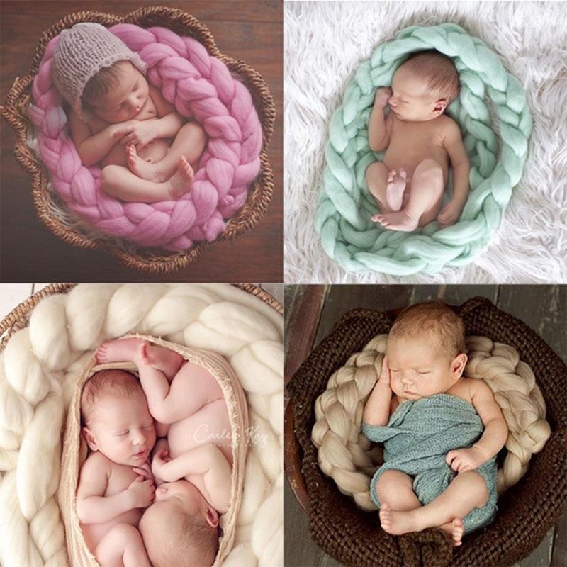 Wool Fiber Blanket 400cm Basket Filler Braid Blanket Basket Stuffer Newborn Photography Props Baby Shower Gift
