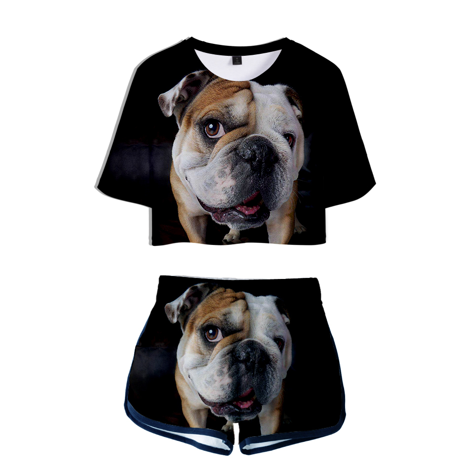 Französisch Bulldog 3d Gedruckt Frauen Zwei Stück Sets Mode Sommer Kurzarm Crop Top + Shorts 2019 Casual Streetwear Kleidung Eine Hohe Bewunderung Gewinnen