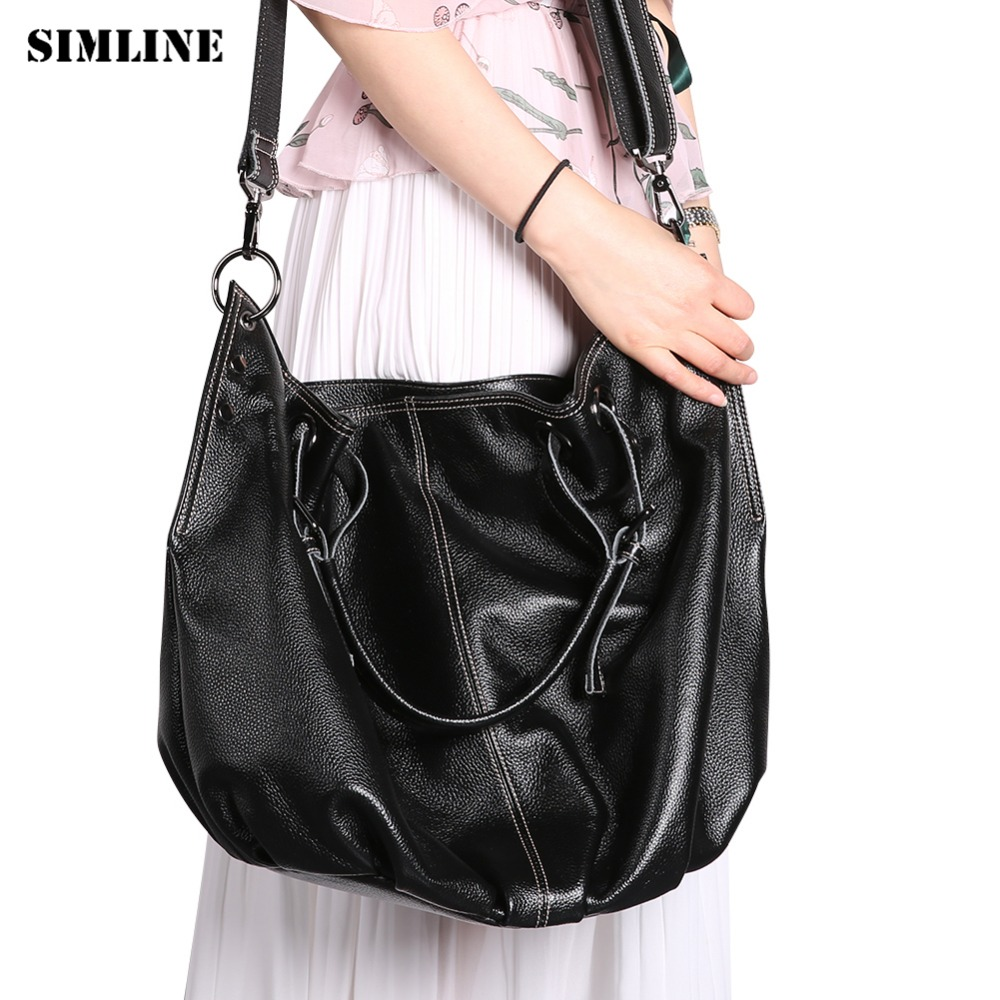 SIMLINE Genuine Leather Women Handbag Luxury Brand Designer Female Handbags Large Capacity Casual Tote Shoulder Bag Ladies Bags brand designer large capacity ladies brown black beige casual tote shoulder bag handbags for women lady female bolsa feminina page 1