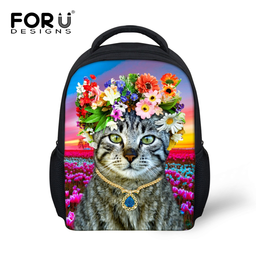 FORUDESIGNS Girls Kawaii Kitty Cat School Bags Children Mochila Infantil Kindergarten Baby Schoolbags Backpacks Kids Travel Bag