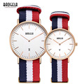 Baogela Fashion Canvas Strap Waterproof Quartz Watches for Lovers Causua Mens Womens Cancendar Date Wristwatches 1609