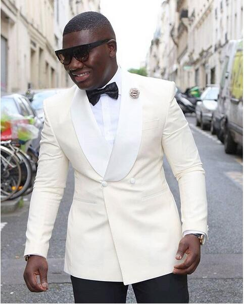 New Ivory Men's Suit with White Shawl Collar Black Pants Groom Tuxedos 2 Pieces( Jacket+Pants) Groomsmen Best Men Wedding Suit