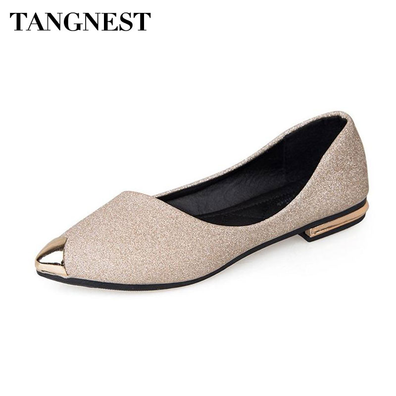 Tangnest Fashion Metal Toe Women's Flats New 2018 Bling Shallow Ballet Flats For Female Pointed Toe Shoes Gold Black pu pointed toe flats with eyelet strap