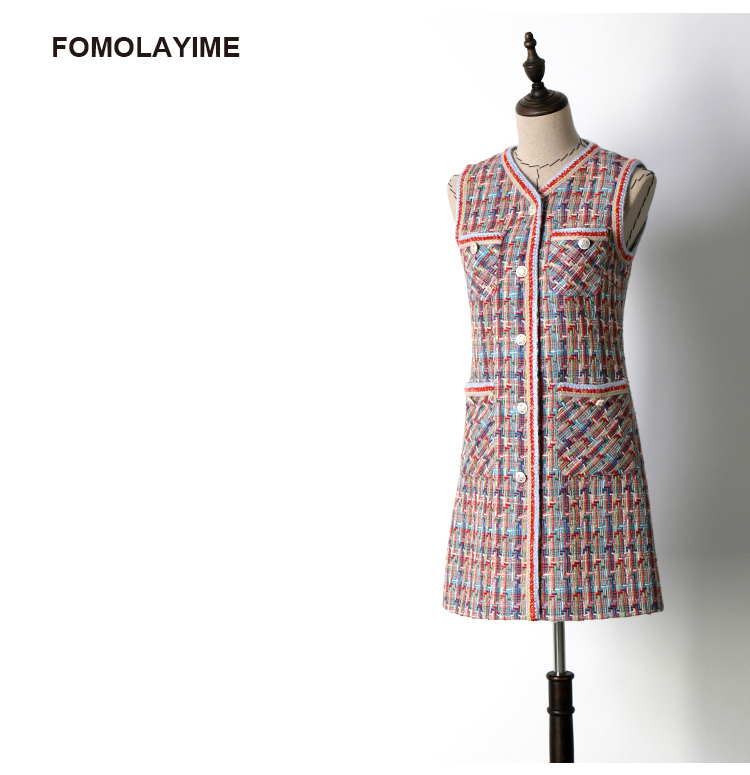FOMOLAYIME Dresses Women 2018 Autumn Wool Tweed Elegance Tank Dress Vestidos